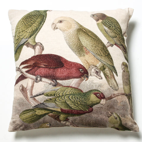Tropical Birds Linen Cushion