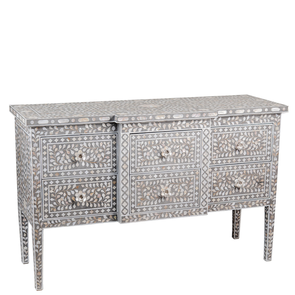 Zaylee Mother of Pearl Six Drawer Chest Floral Taupe and Grey