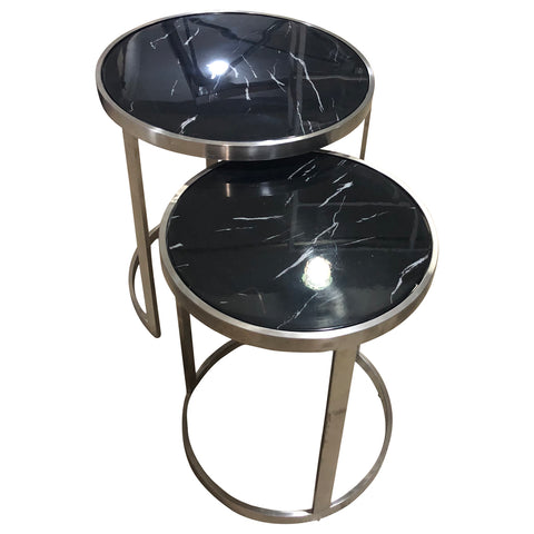 Crafers Side Table Set/2 Black Marblelite