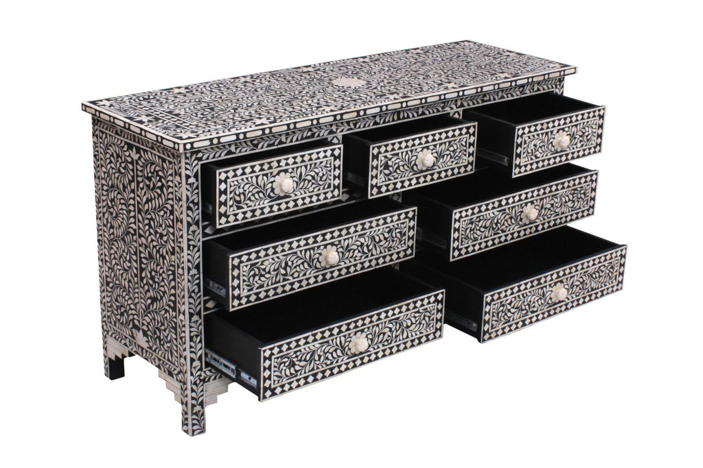 Gini Florentine Bone Inlay Chest Black
