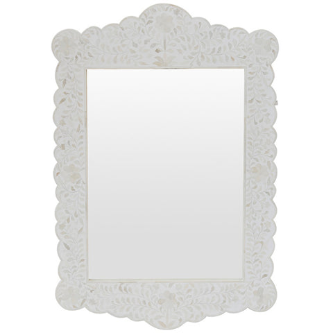 Cordelia Bone Inlay Scalloped Mirror White