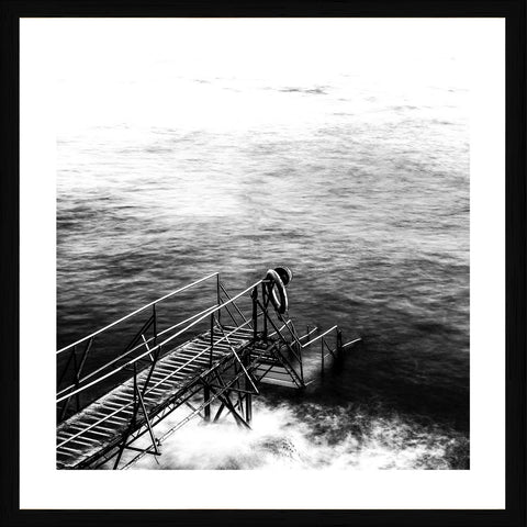 Black and White Pier Photographic Print with Frame