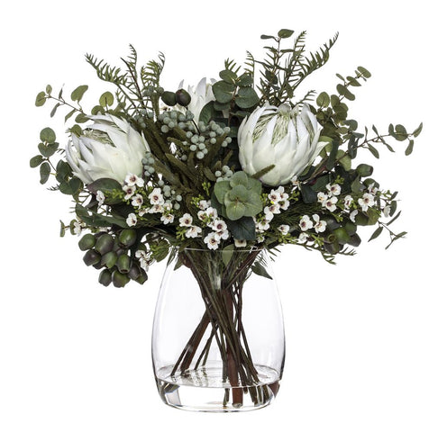 King Protea Wax Flower Mix in Evelyn Vase White 61cmH