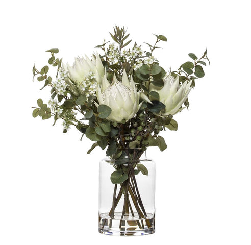 Protea Mix in Pail Vase White 54cmH