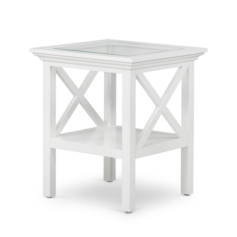 Sorrento Glass Top Side Table White