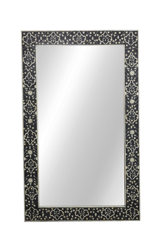 Janiya Bone Inlay Mirror Moghul Flower Black and White
