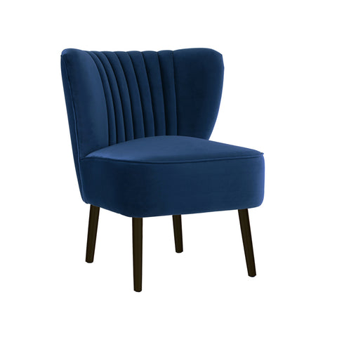 Slipper Chair Navy with Black Legs