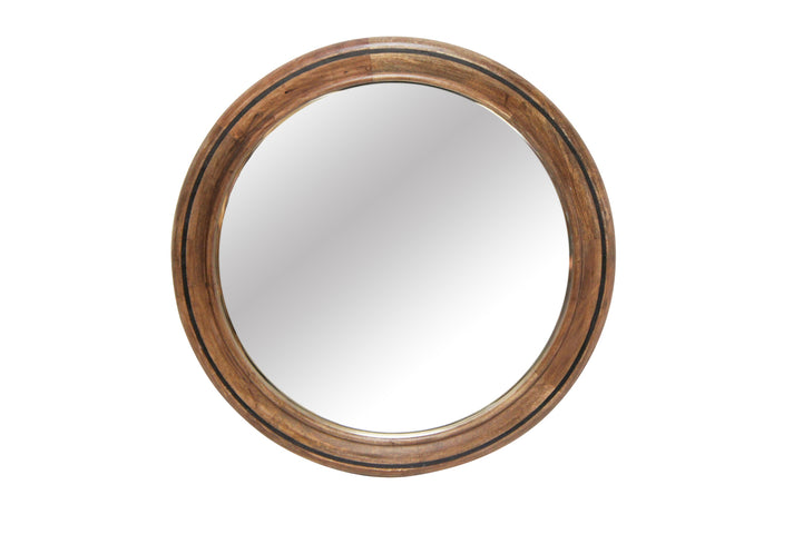 Bahai Wood Mirror with Black Inlay