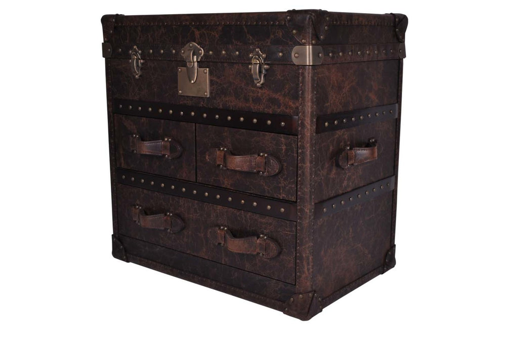 Vintage Leather 3 Drawer Chest with Top Opening