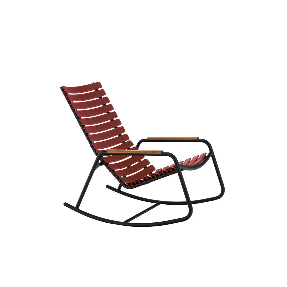 Clips Rocking Chair Paprika with Bamboo Armrests & Black Frame
