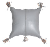 Arvika Leather Tassel Cushion Pale Grey