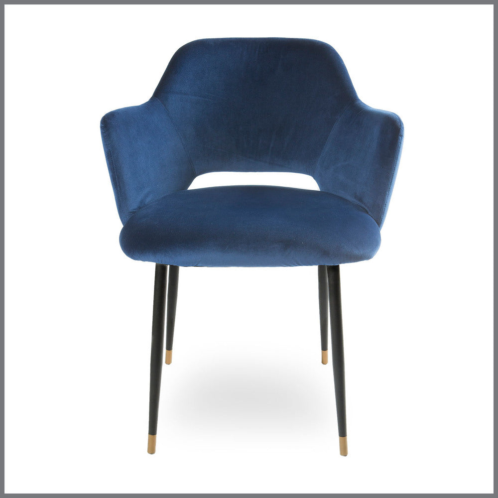 Germain Carver Dining Chair Navy Velvet