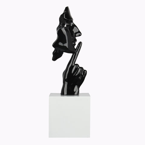 Face and Finger Sculpture Black Gloss