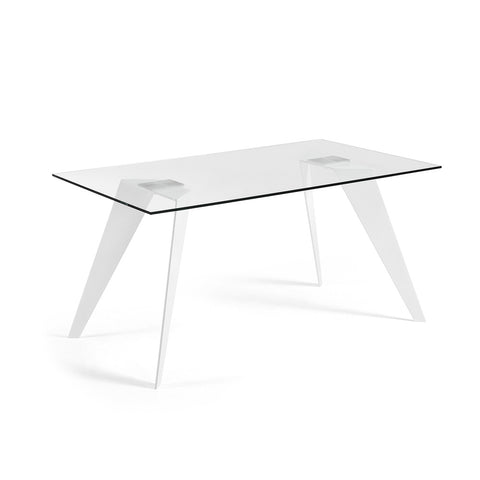 Lanni Dining Table Black with Clear Glass