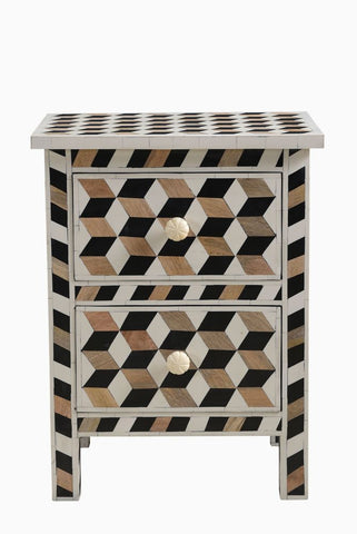 Escher Bone Inlay and Teak Bedside