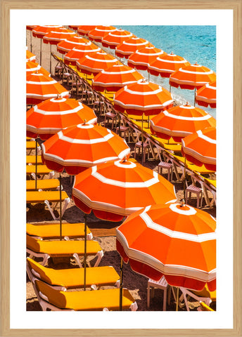 Orange Umbrellas Photographic Print with Frame