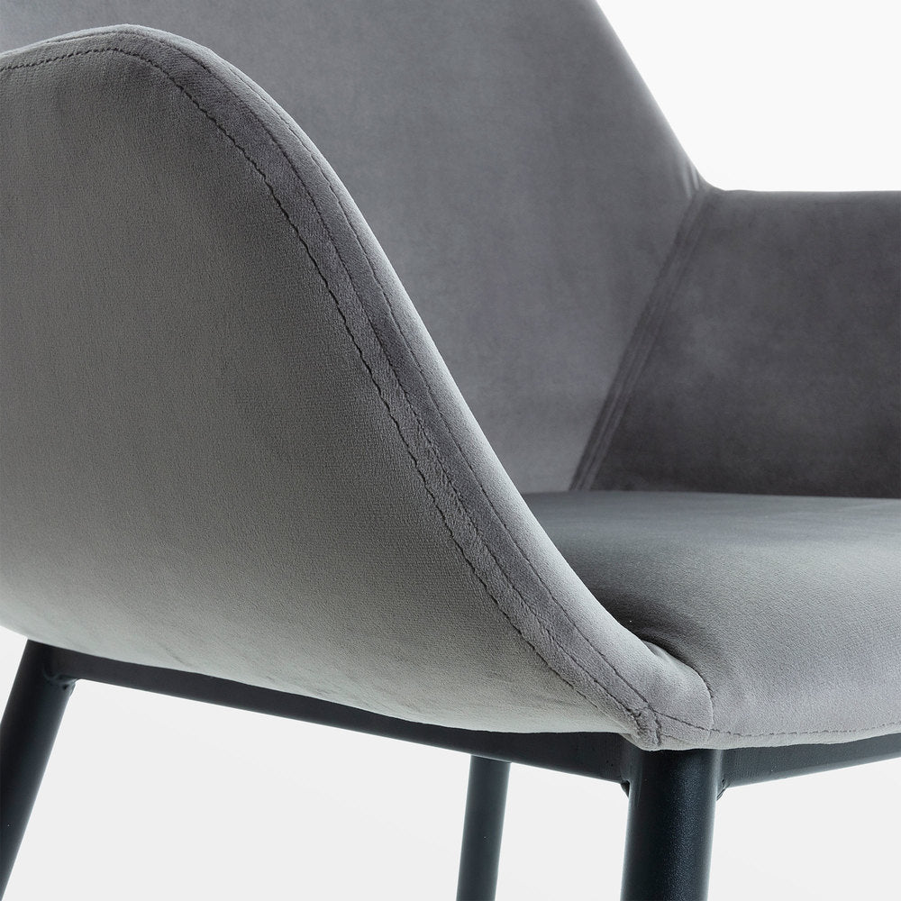 Fabio Dining Chair Grey Velvet