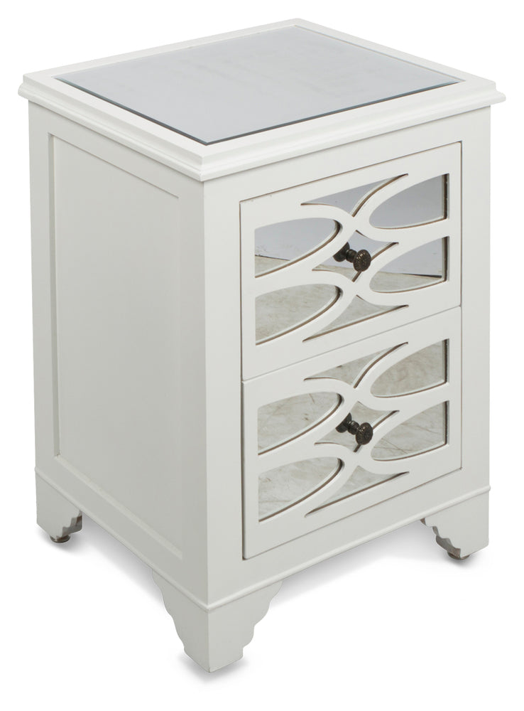 Lattice Mirrored Bedside White