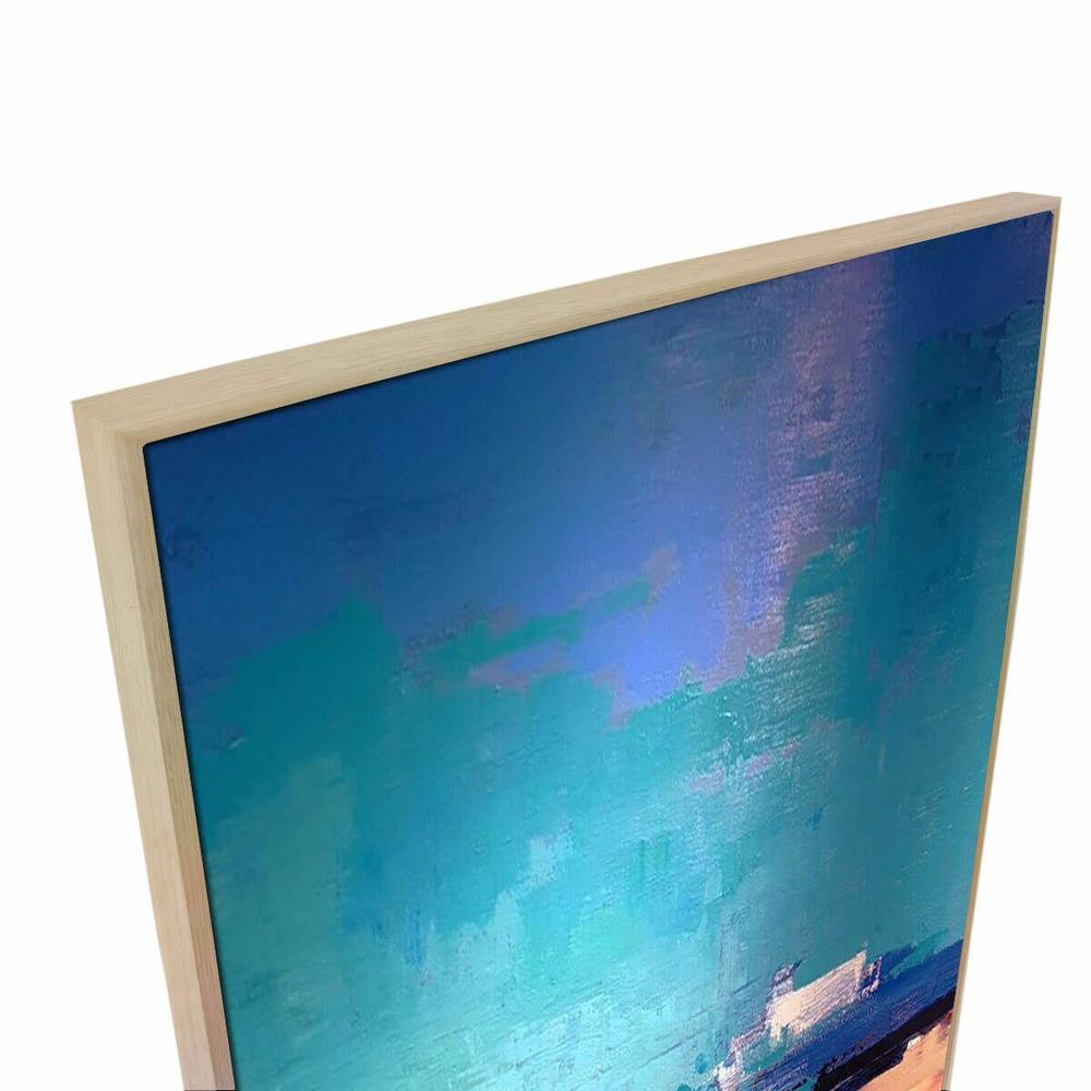 Blue Block Canvas Painting with Floating Frame