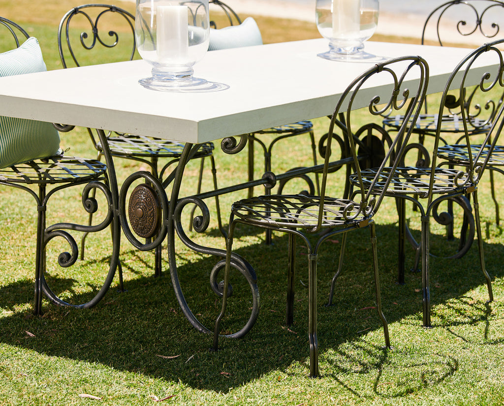 Refectory Wrought Iron Outdoor Dining Table With Grc Top Interiors Online
