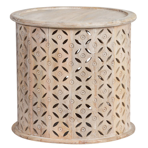 Cow Hide Round Stool Brown/White