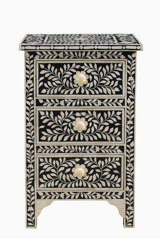 Gini Florentine Bone Inlay Bedside Black