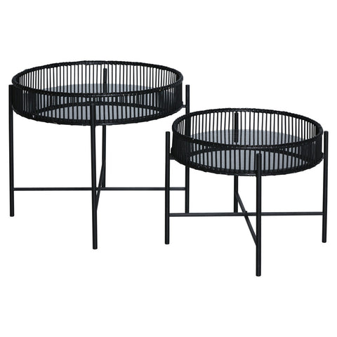 Black Bamboo Side Tables Set/2