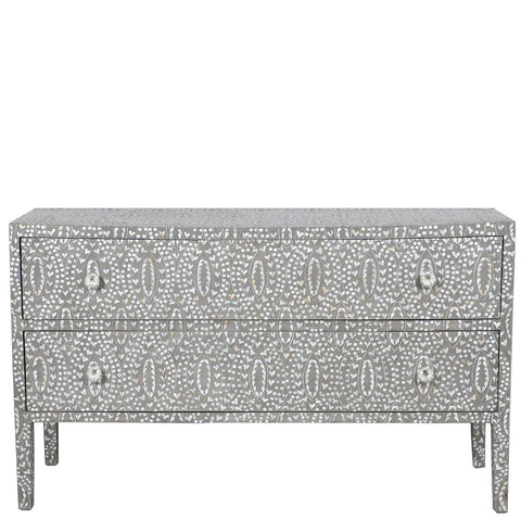 Nahla Mother of Pearl Long 2 Drawer Chest Classic Vine Grey