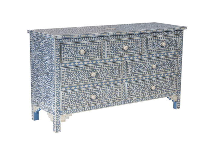 Kerala Bone Inlay 7 Drawer Chest Blue