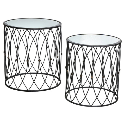 Black Iron Side Tables Set/2