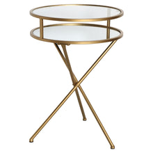 Gold Glass Folding Side Table