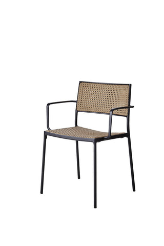Less Stackable Dining Chair Lava Grey with Natural Weave