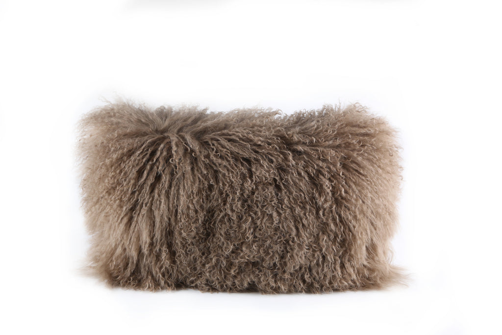 Tibetan Fur Cushion Beige