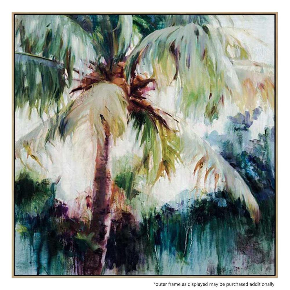 Havana Palms Canvas Painting with Floating Frame