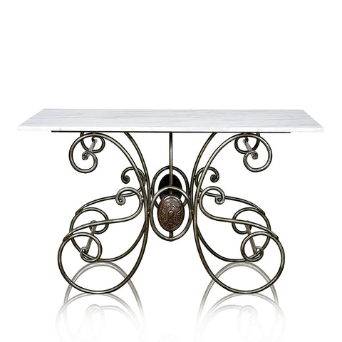 Butchers Wrought Iron Console With Marble Top
