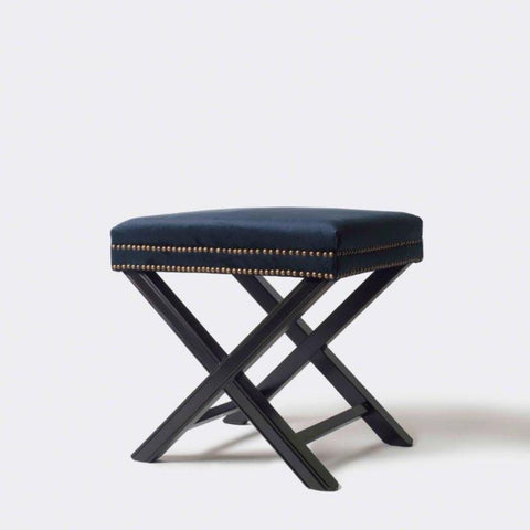 Studded Ottoman with X Legs Navy Velvet