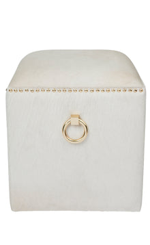 Aisha Cowhide Stool White