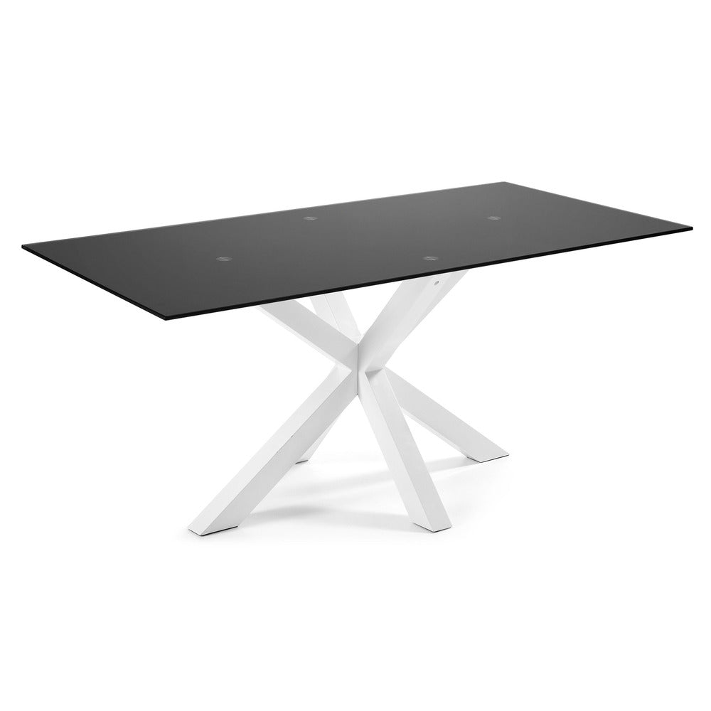 Masa Dining Table White Legs with Black Glass Top