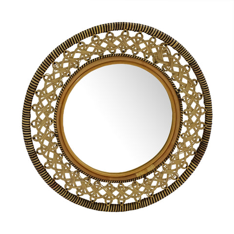 Interlace Whitewash Mirror Round