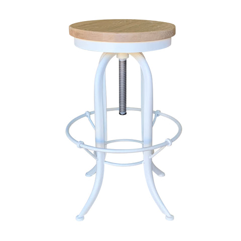 Screw Stool Antique White with Weathered Oak Seat