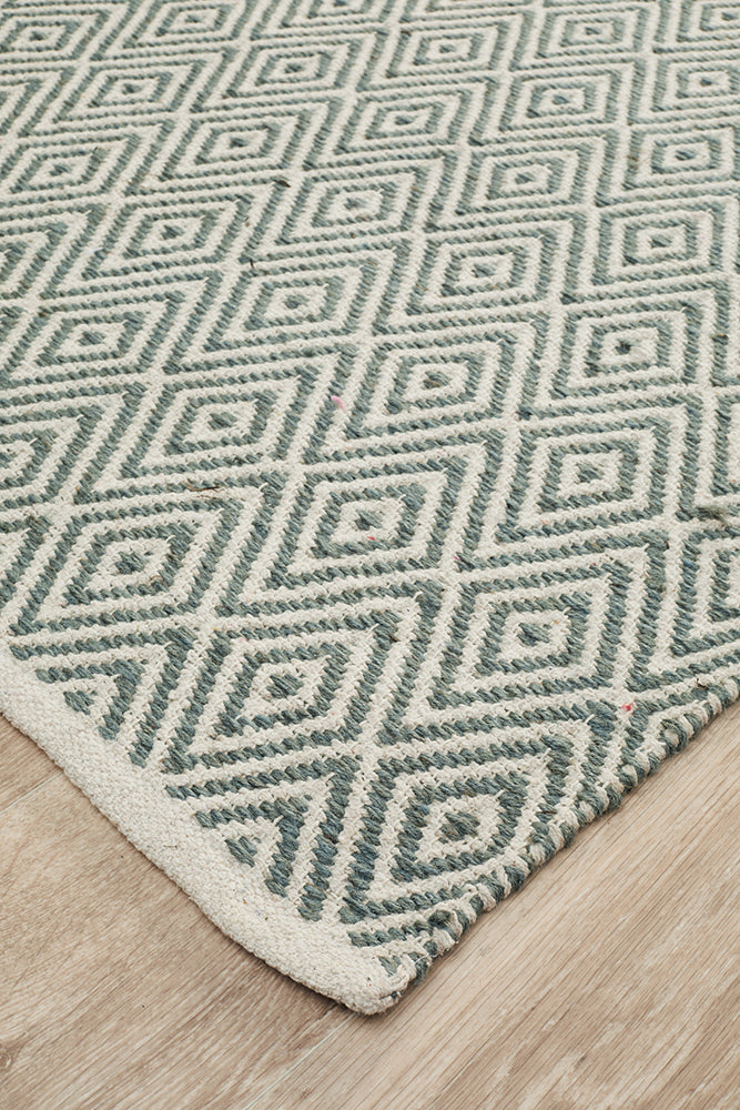 Modern Flatweave Diamond Design Blue Rug