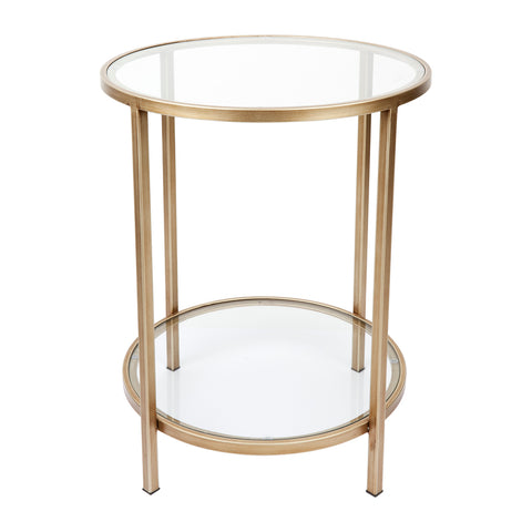 Martini Round Clear Glass Side Table Antique Gold