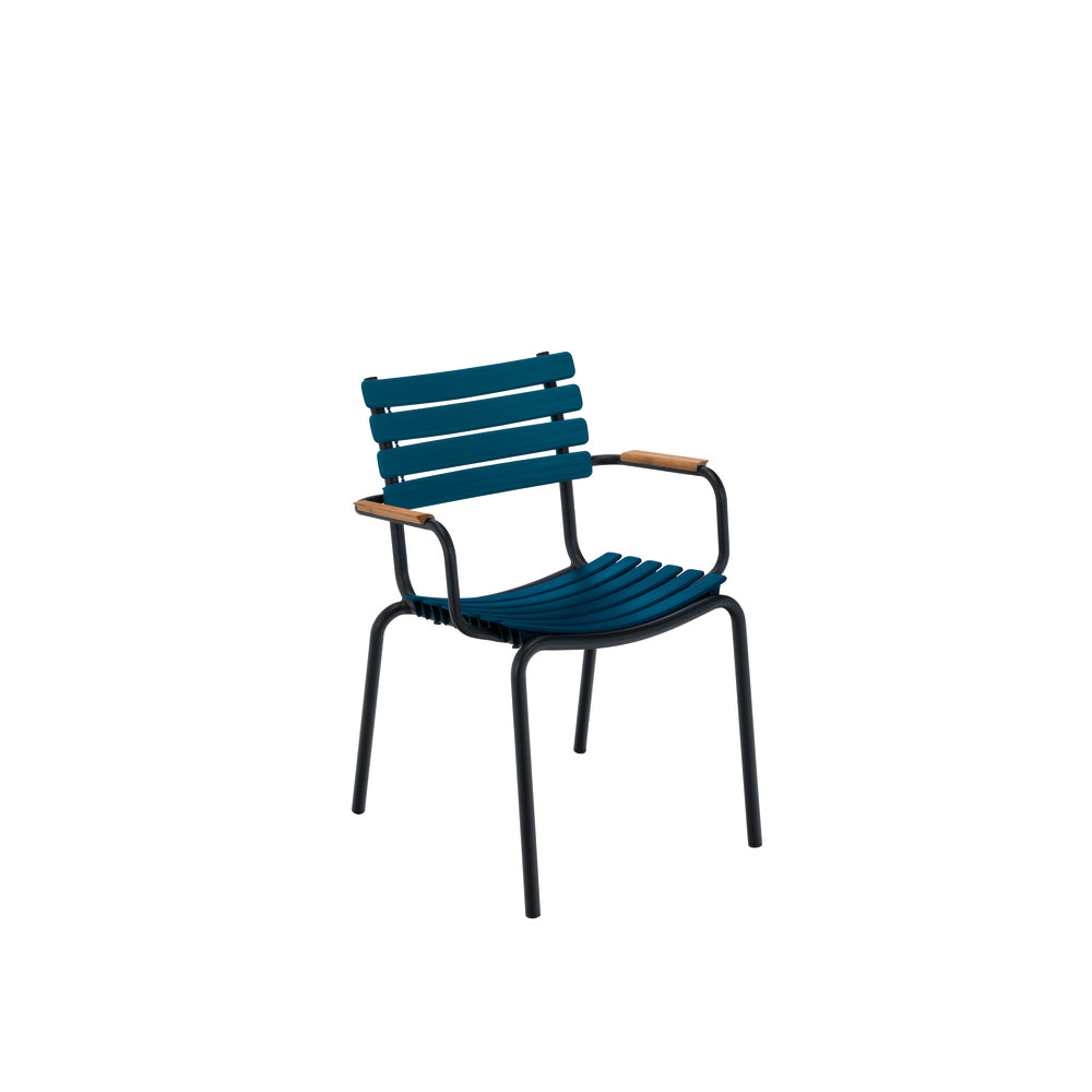 Clips Dining Chair Midnight Blue with Bamboo Armrests