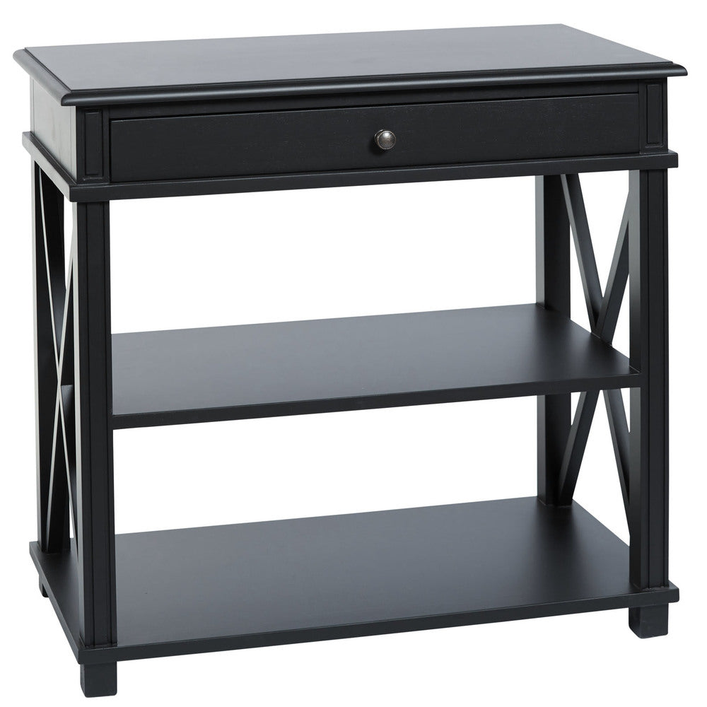 Manto Large Bedside Table Black