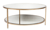 Cocktail Round Coffee Table Antique Gold