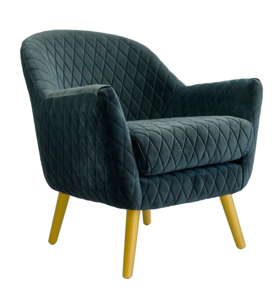 Club Chair Steel Blue with Gold Legs