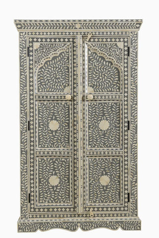 Omar Bone Inlay Cabinet Grey Small
