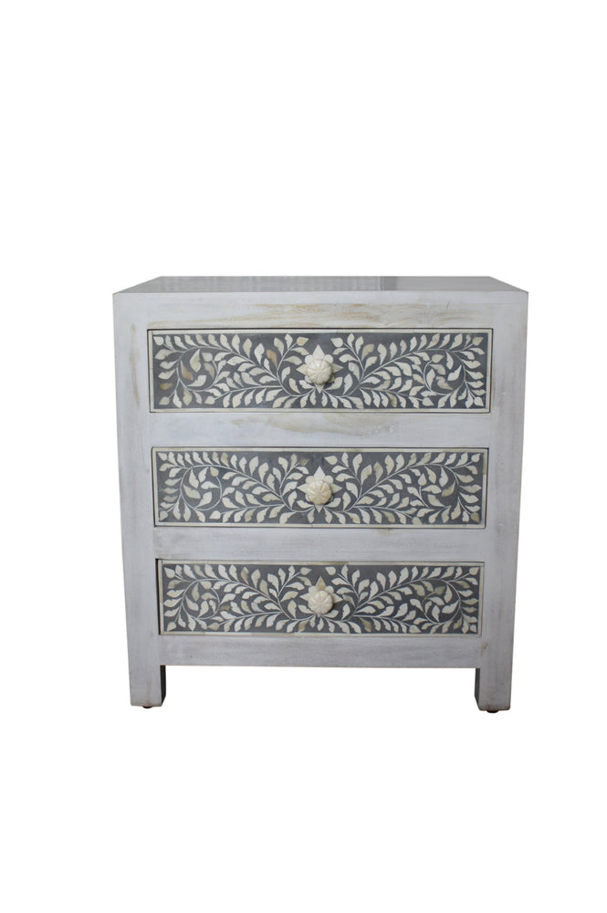Grey and Whitewash Bone Inlay Bedside Chest