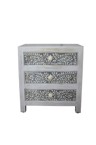 Plantation Bedside Table White Large