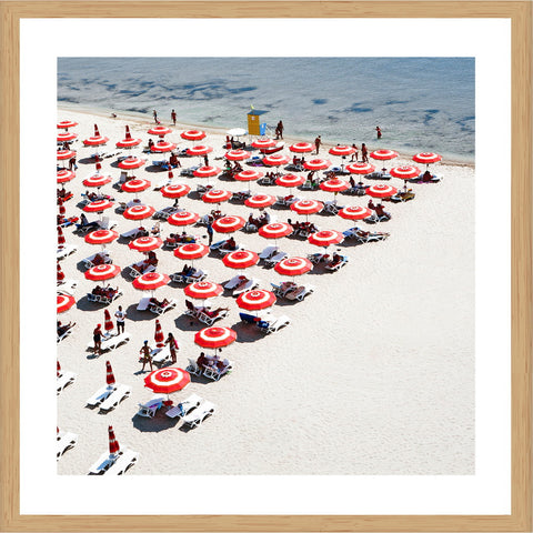 Orange Beach Umbrellas Photographic Print with Frame